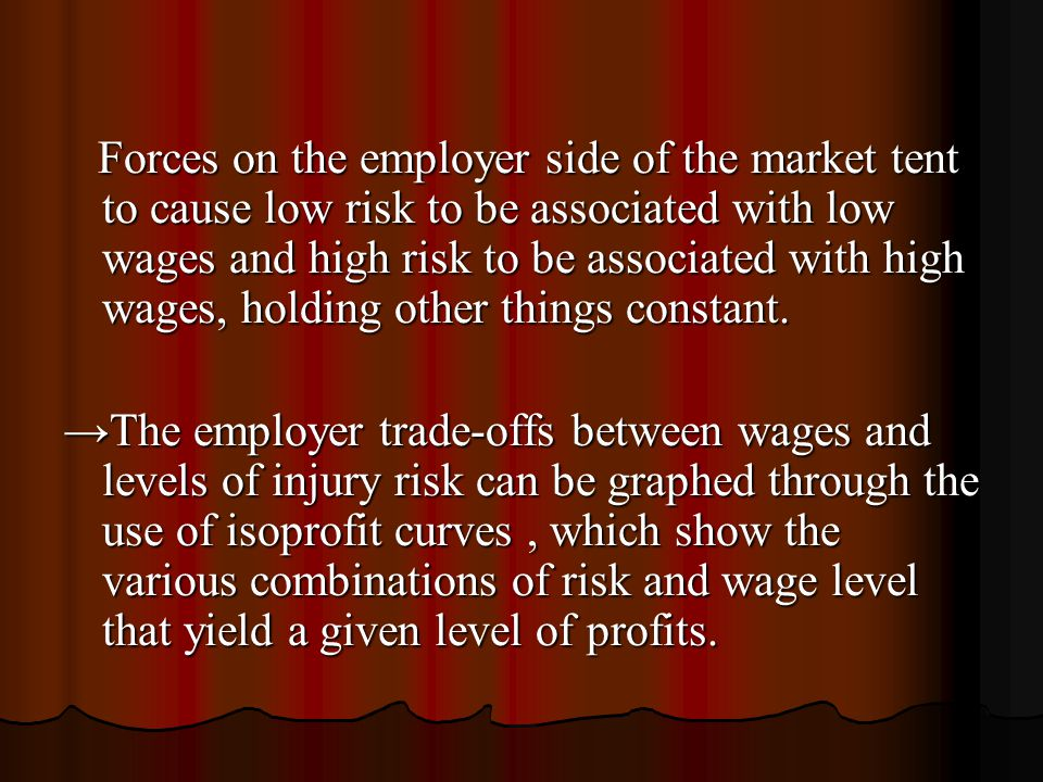 Forces on the employer side of the market tent to cause low risk to be associated with low wages and high risk to be associated with high wages, holding other things constant.