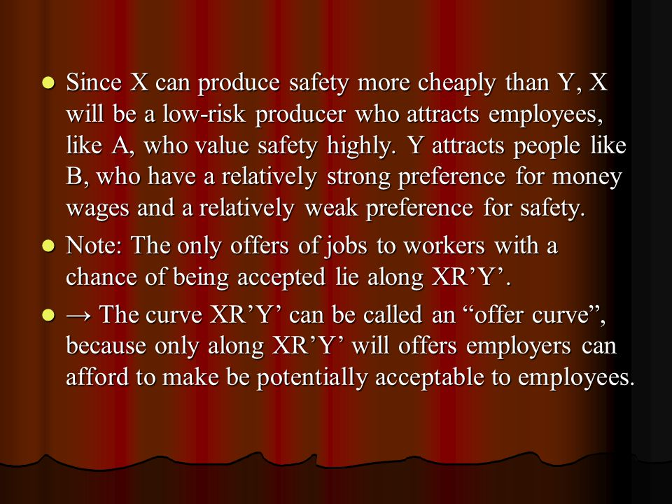 Since X can produce safety more cheaply than Y, X will be a low-risk producer who attracts employees, like A, who value safety highly. Y attracts people like B, who have a relatively strong preference for money wages and a relatively weak preference for safety.