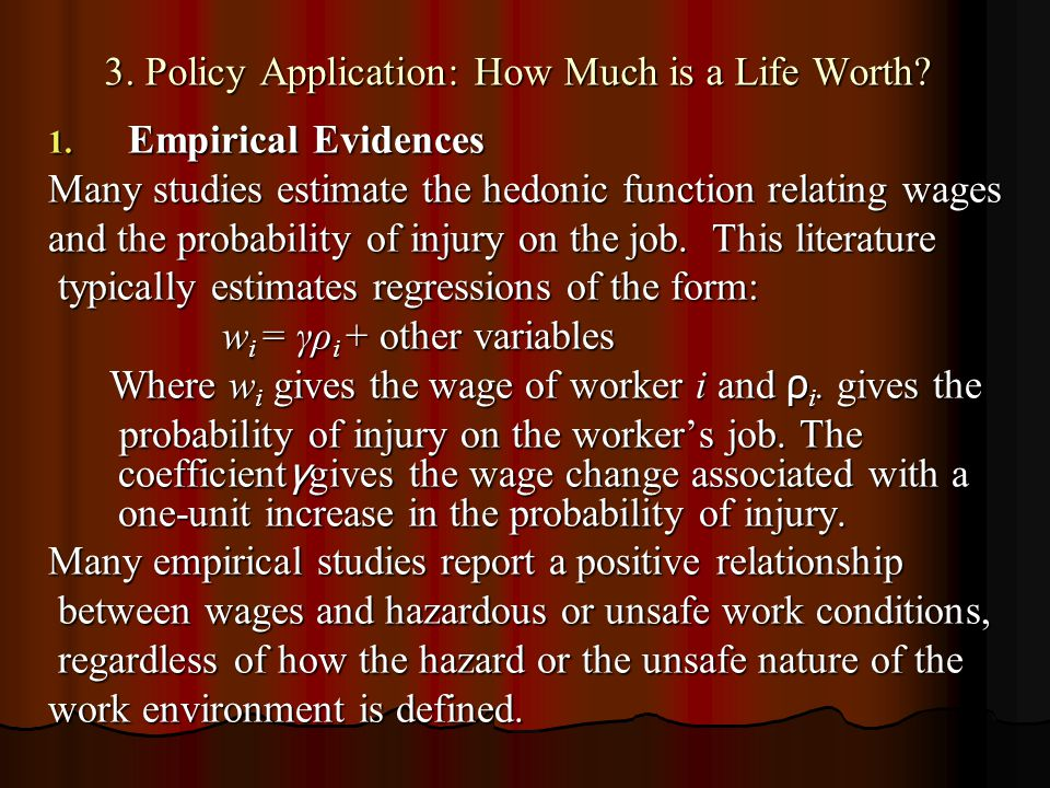 3. Policy Application: How Much is a Life Worth