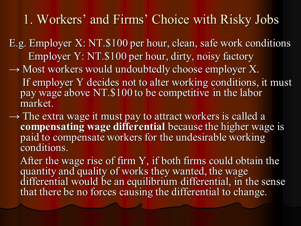 1. Workers' and Firms' Choice with Risky Jobs