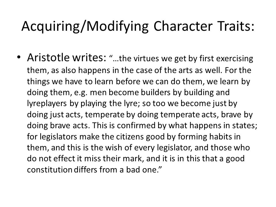 Acquiring/Modifying Character Traits: