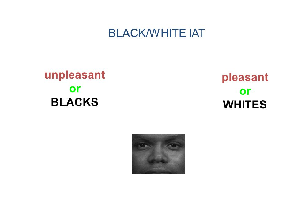 BLACK/WHITE IAT unpleasant or BLACKS pleasant or WHITES