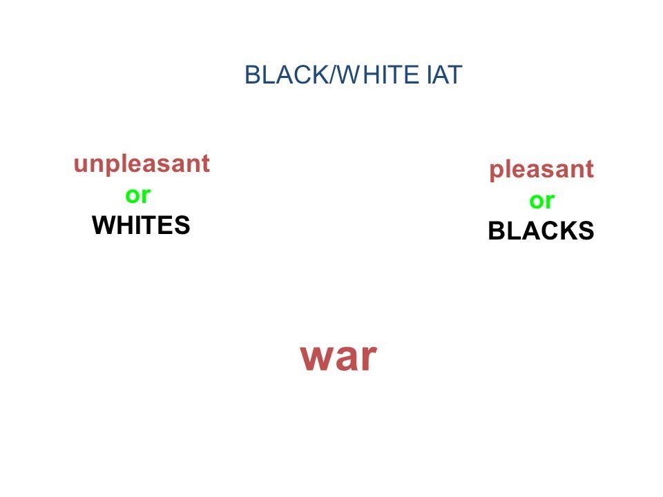 BLACK/WHITE IAT unpleasant or WHITES pleasant or BLACKS war