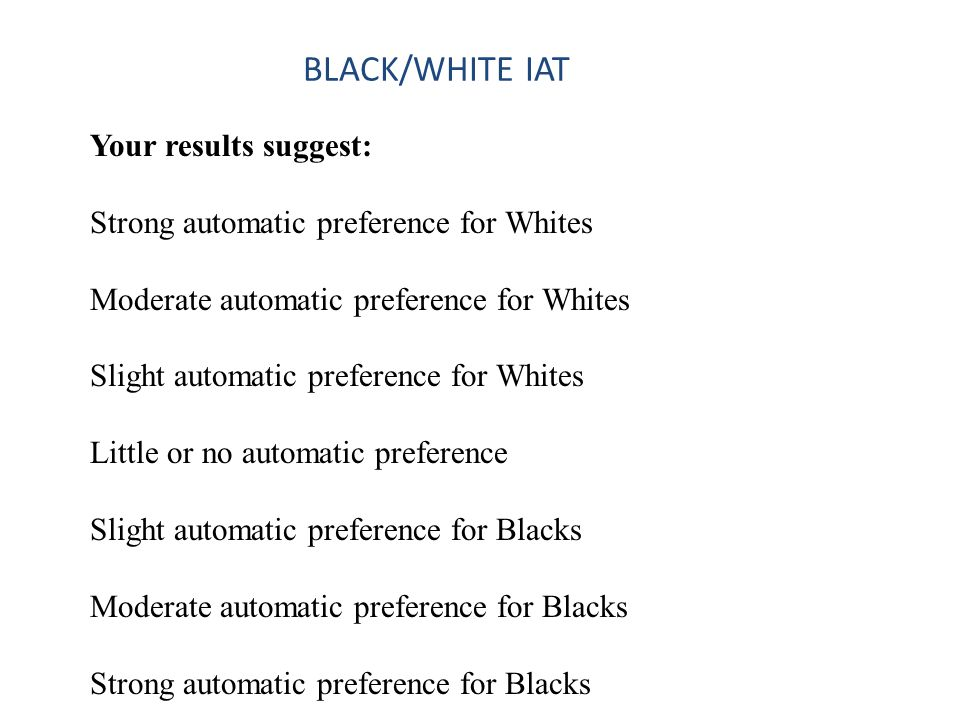 BLACK/WHITE IAT Your results suggest: