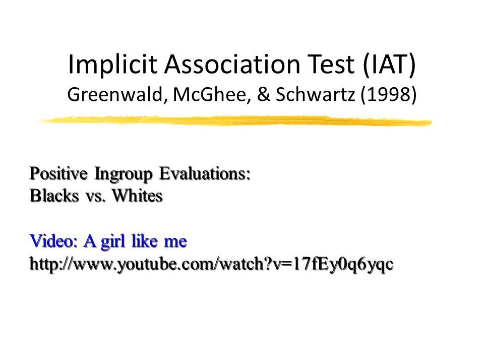 Implicit Association Test (IAT) Greenwald, McGhee, & Schwartz (1998)