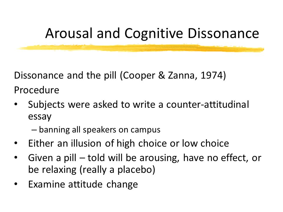 Arousal and Cognitive Dissonance