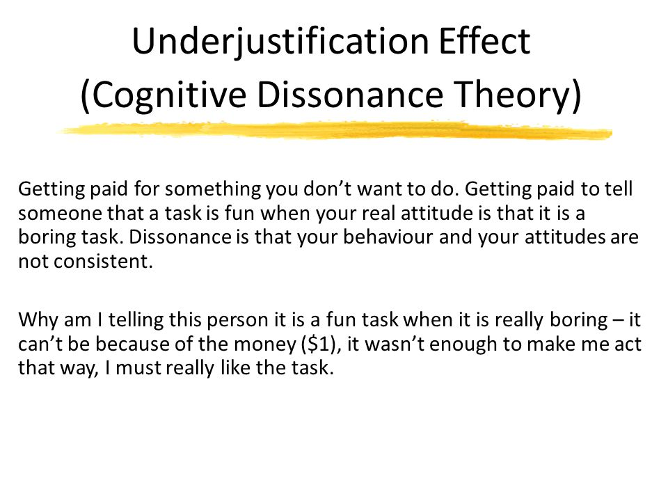 Underjustification Effect (Cognitive Dissonance Theory)