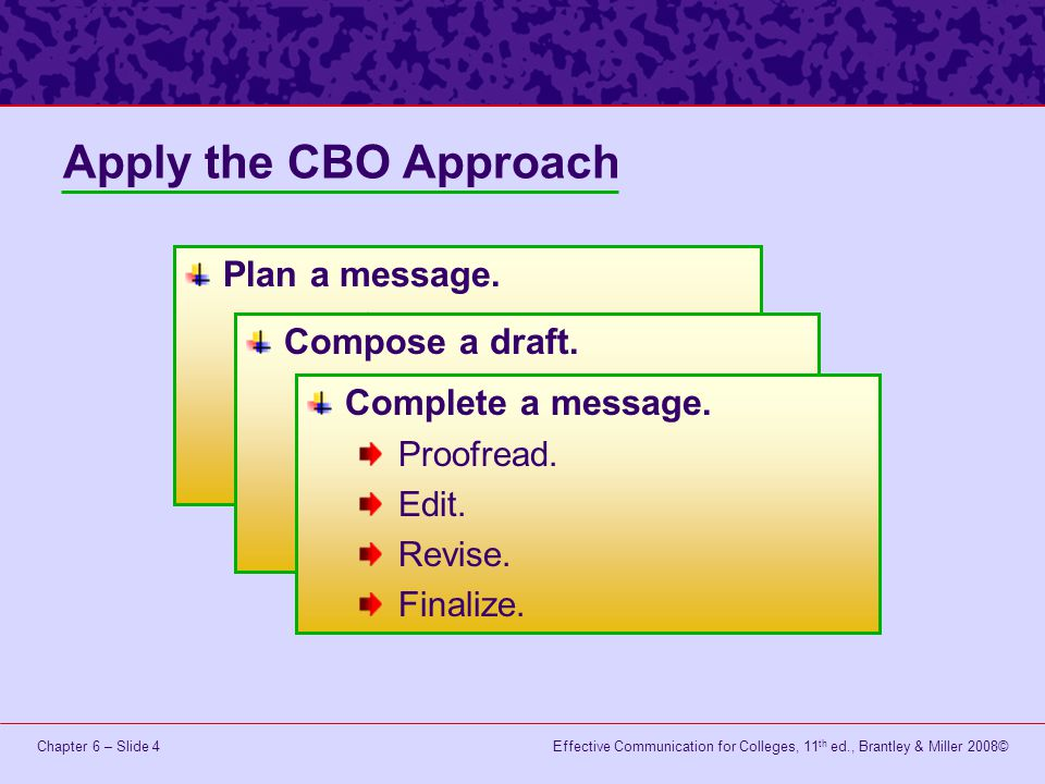 Apply the CBO Approach Plan a message. Compose a draft.
