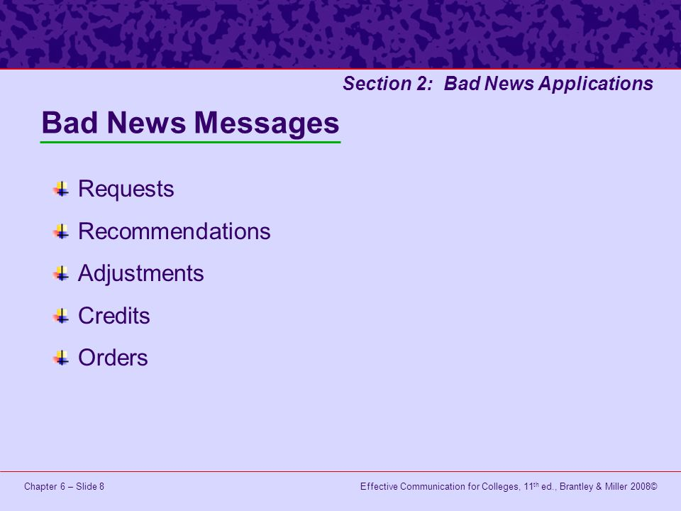 Bad News Messages Requests Recommendations Adjustments Credits Orders