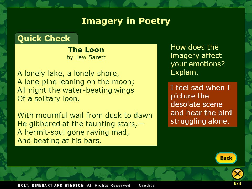 Imagery in Poetry Quick Check