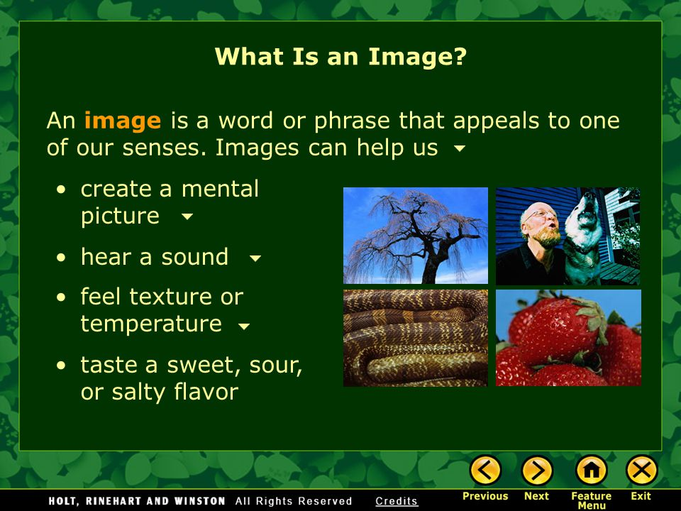 What Is an Image An image is a word or phrase that appeals to one of our senses. Images can help us.