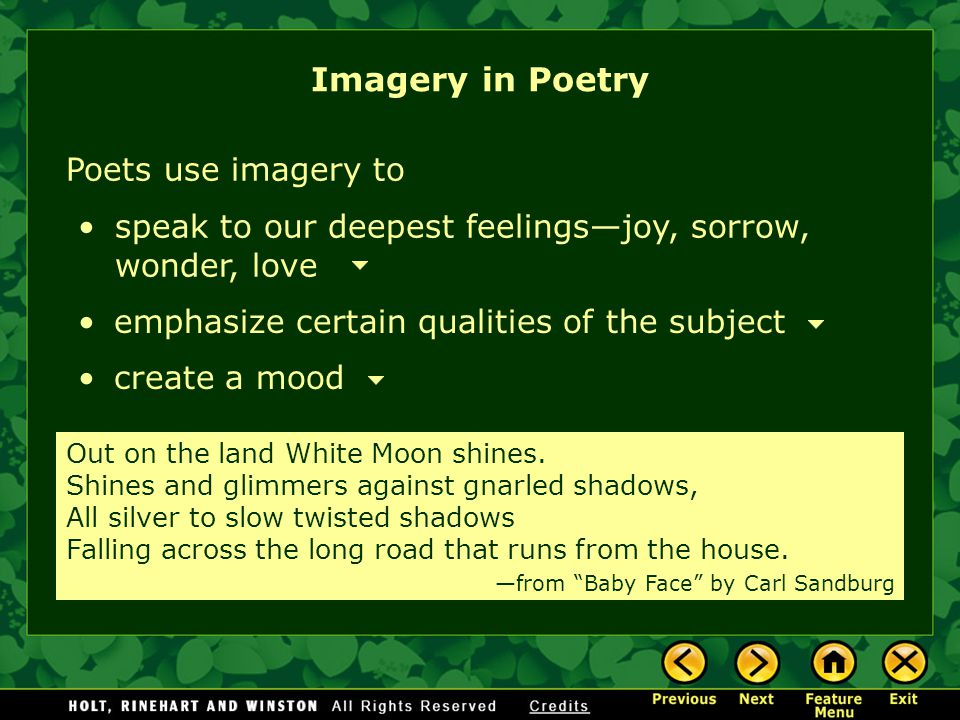 Imagery in Poetry Poets use imagery to