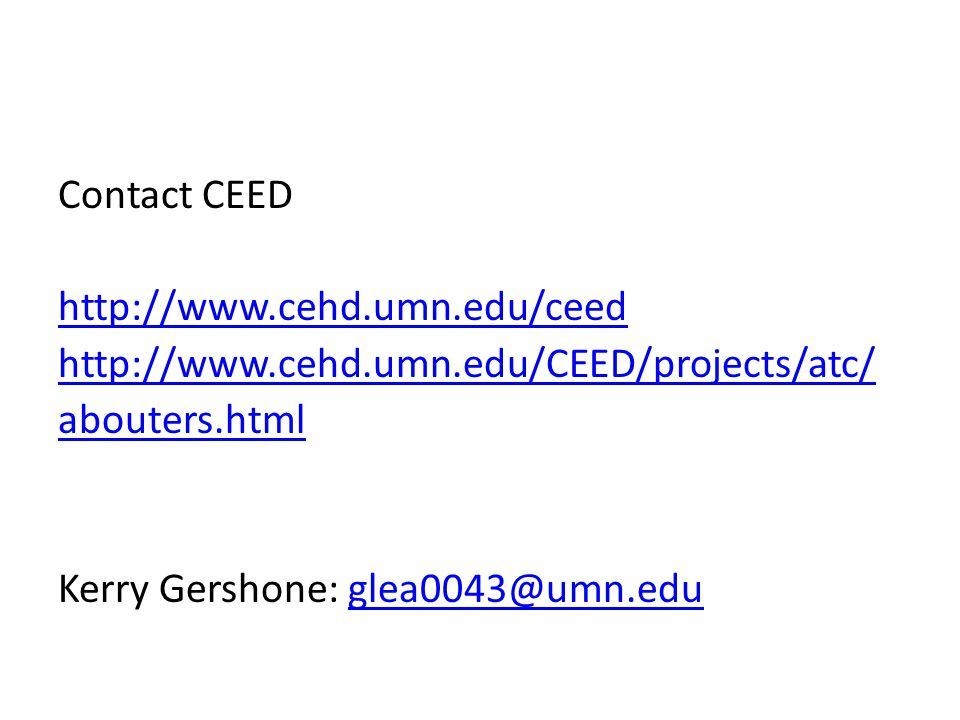 Contact CEED http://www. cehd. umn. edu/ceed http://www. cehd. umn
