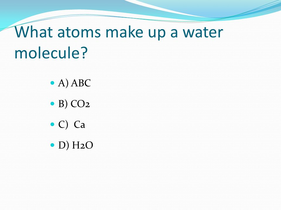 What atoms make up a water molecule