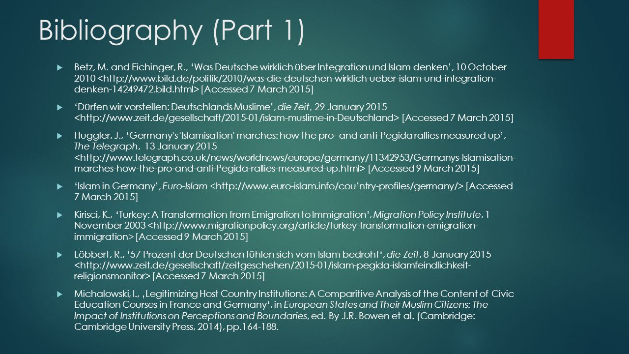 Bibliography (Part 1)
