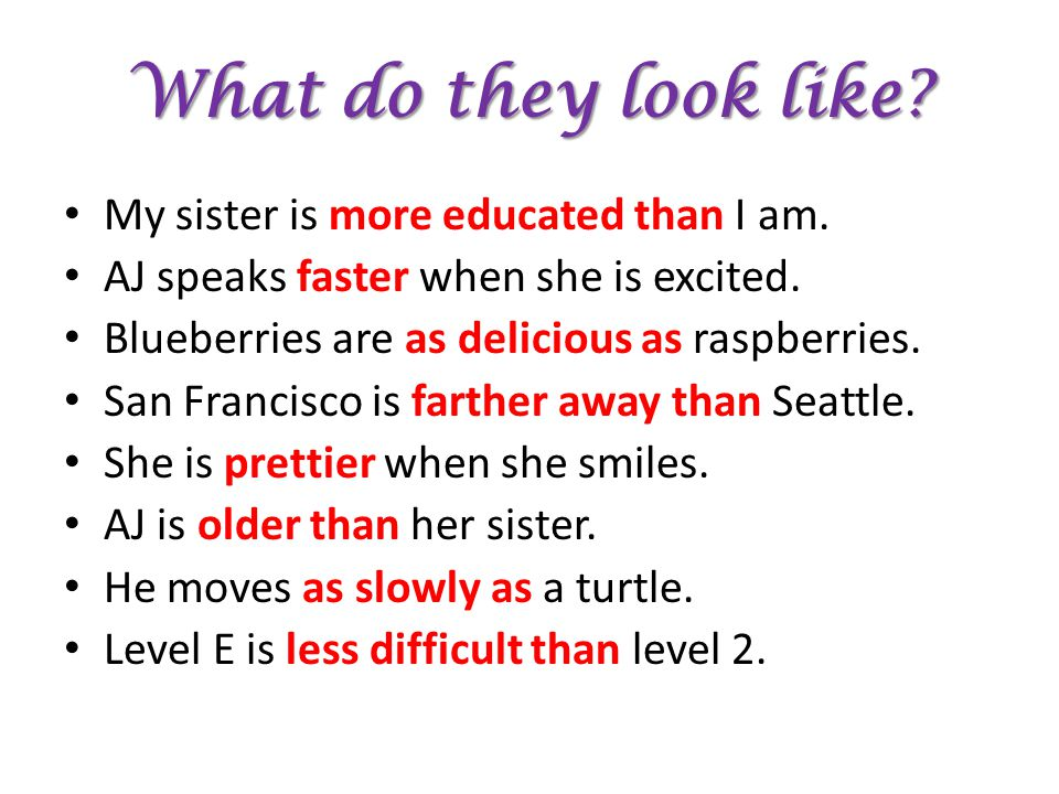What do they look like My sister is more educated than I am.