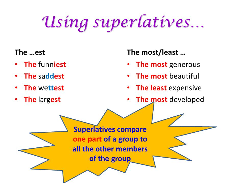 Using superlatives… The …est The most/least … The funniest The saddest