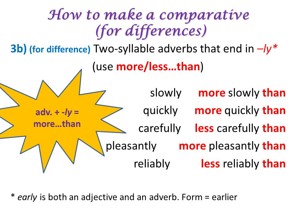 How to make a comparative (for differences)