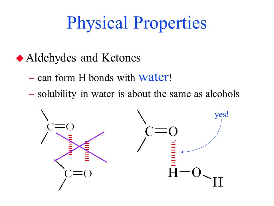 Physical Properties Aldehydes and Ketones can form H bonds with water!