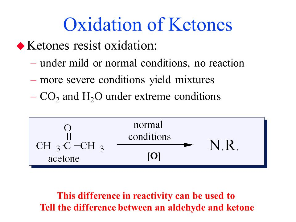 Oxidation of Ketones Ketones resist oxidation: