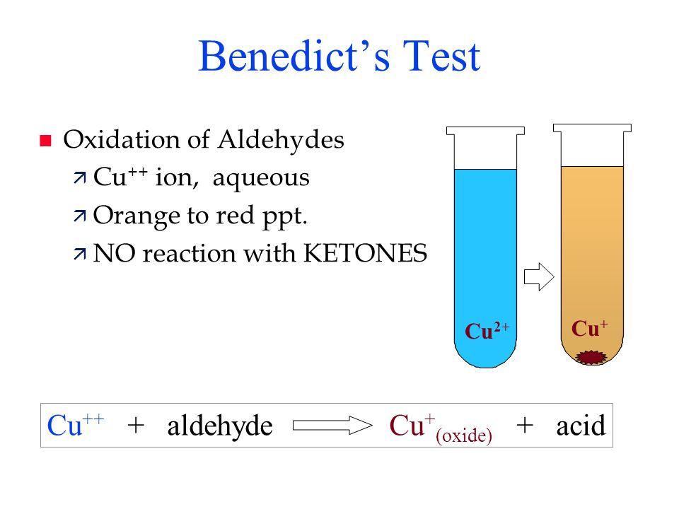 Benedict's Test Cu++ + aldehyde Cu+(oxide) + acid