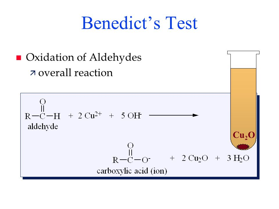 Benedict's Test Oxidation of Aldehydes overall reaction Cu2O