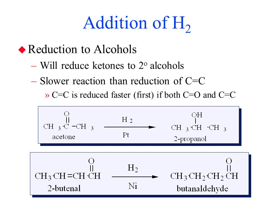 Addition of H2 Reduction to Alcohols