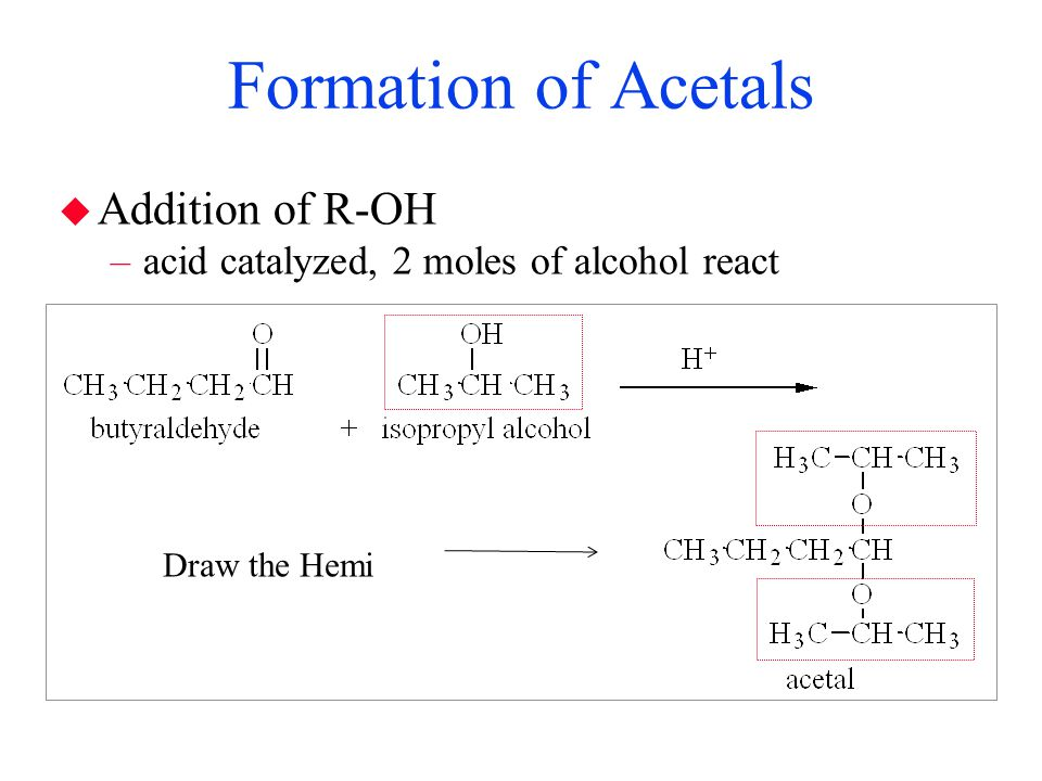 Formation of Acetals Addition of R-OH