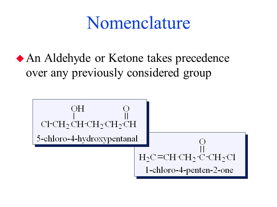Nomenclature An Aldehyde or Ketone takes precedence over any previously considered group