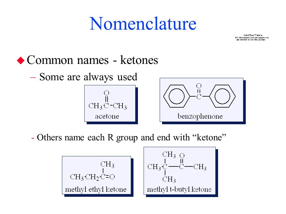 Nomenclature Common names - ketones Some are always used