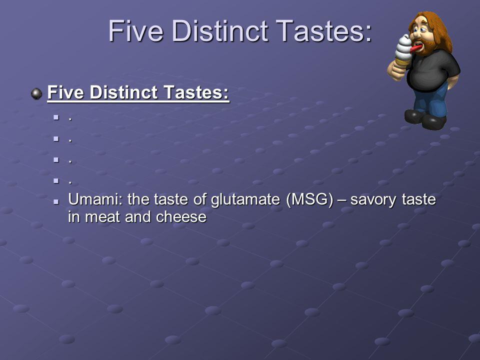 Five Distinct Tastes: Five Distinct Tastes: .