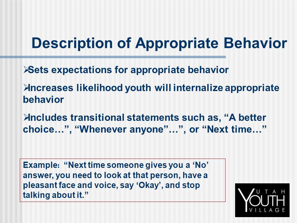 Description of Appropriate Behavior