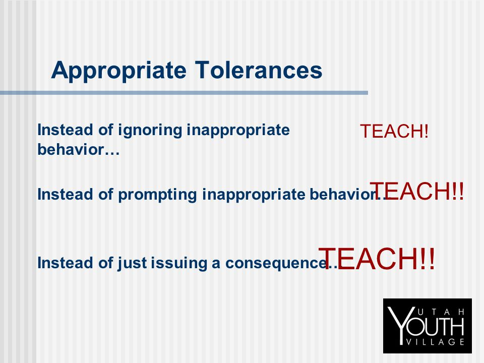 Appropriate Tolerances