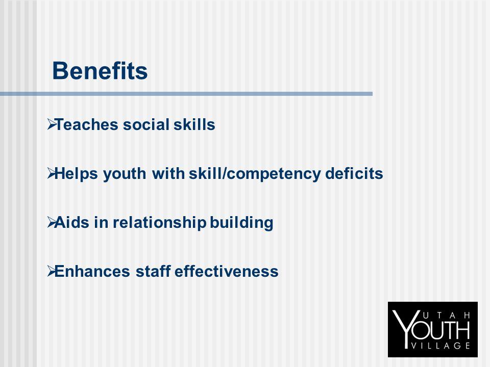 Benefits Teaches social skills