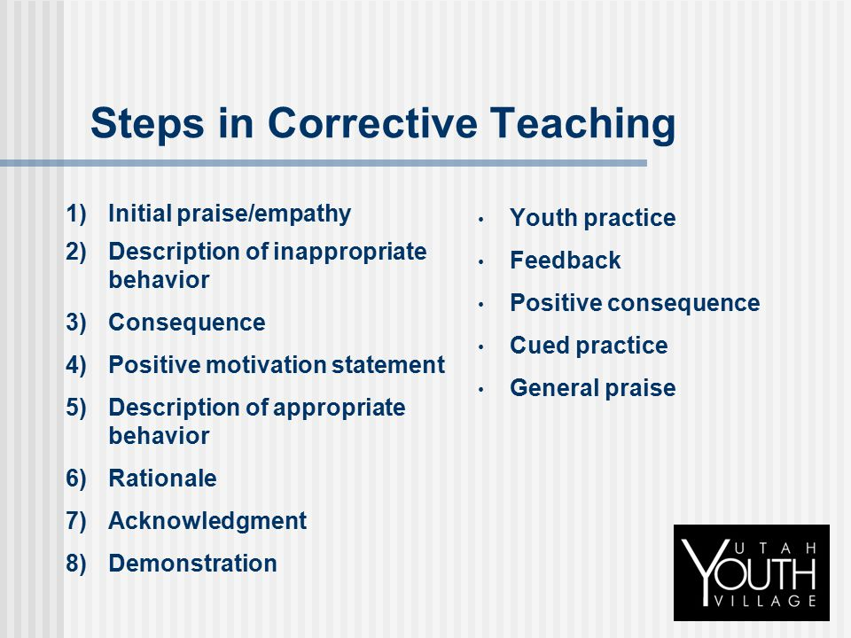 Steps in Corrective Teaching