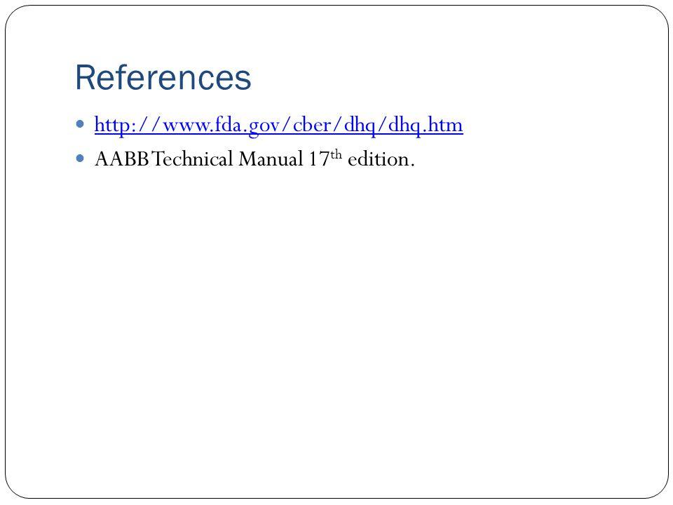 References http://www.fda.gov/cber/dhq/dhq.htm