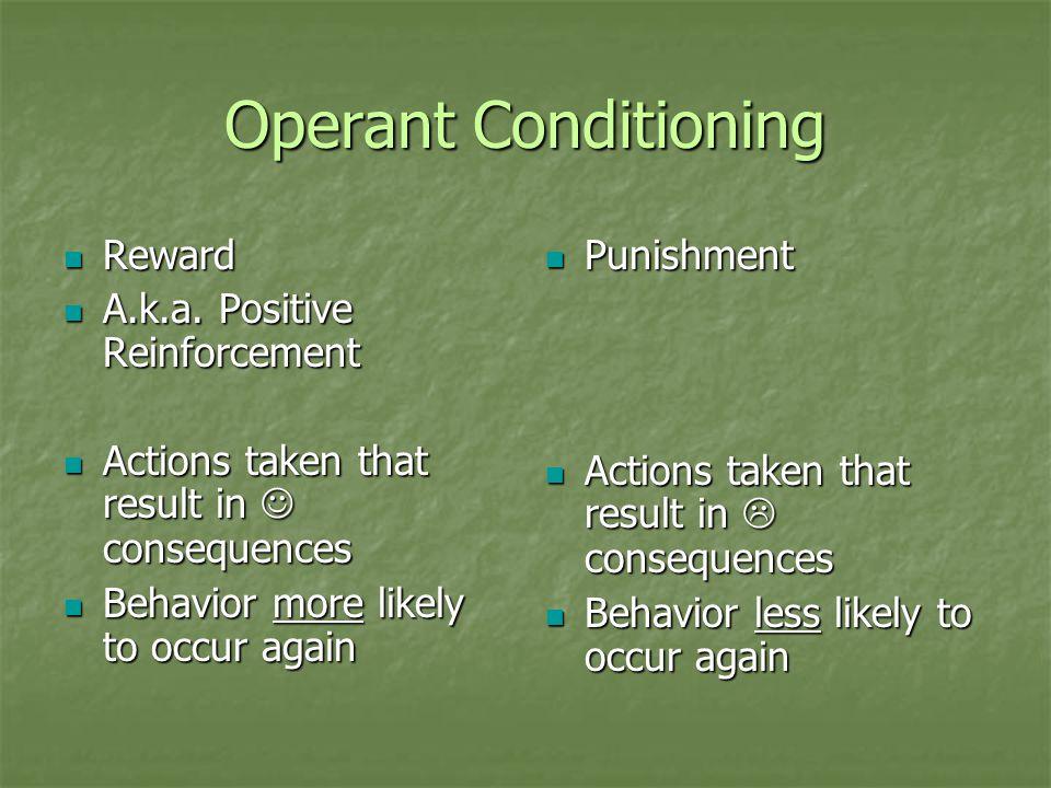 Operant Conditioning Reward A.k.a. Positive Reinforcement
