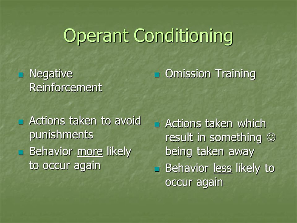 Operant Conditioning Negative Reinforcement