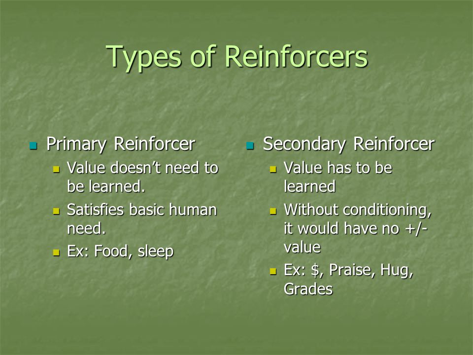 Types of Reinforcers Primary Reinforcer Secondary Reinforcer