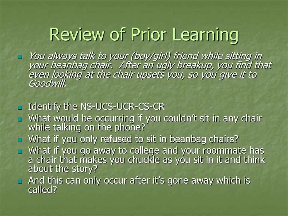 Review of Prior Learning