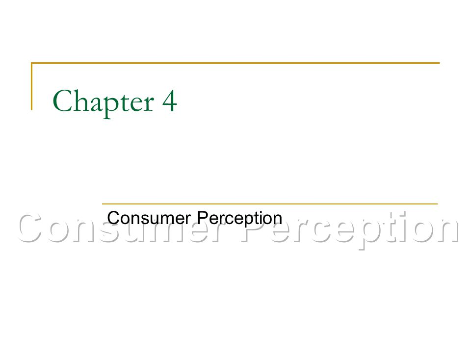 Chapter 4 Consumer Perception Consumer Perception
