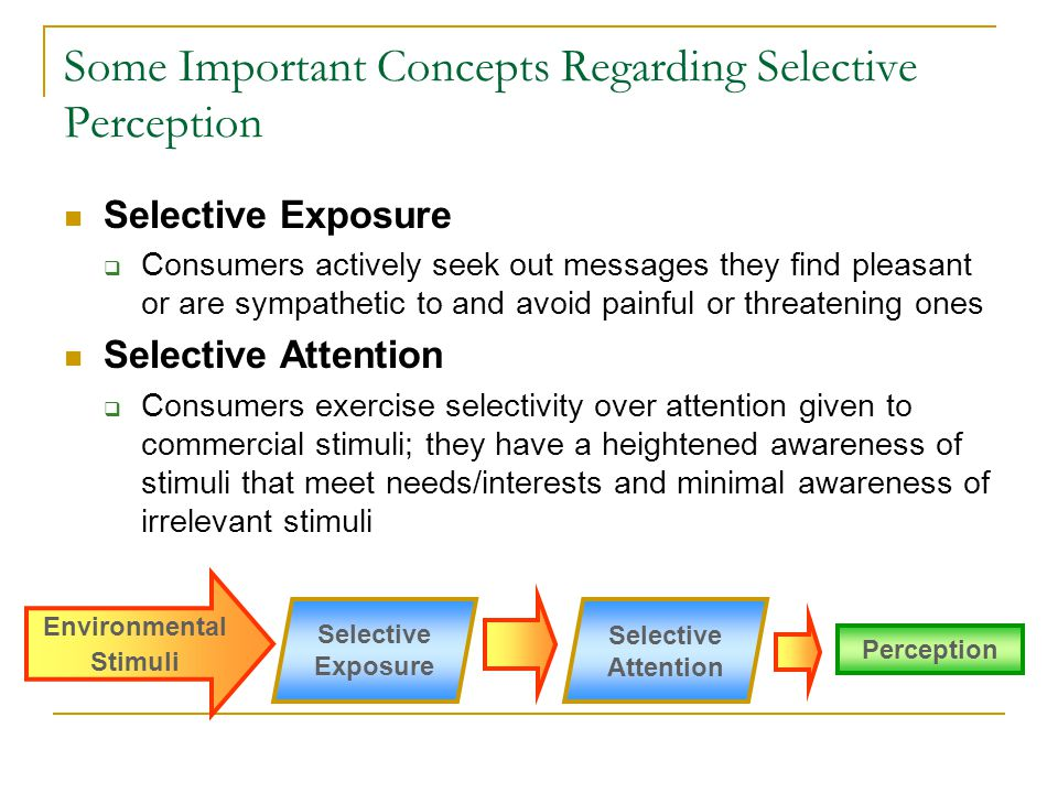 Some Important Concepts Regarding Selective Perception