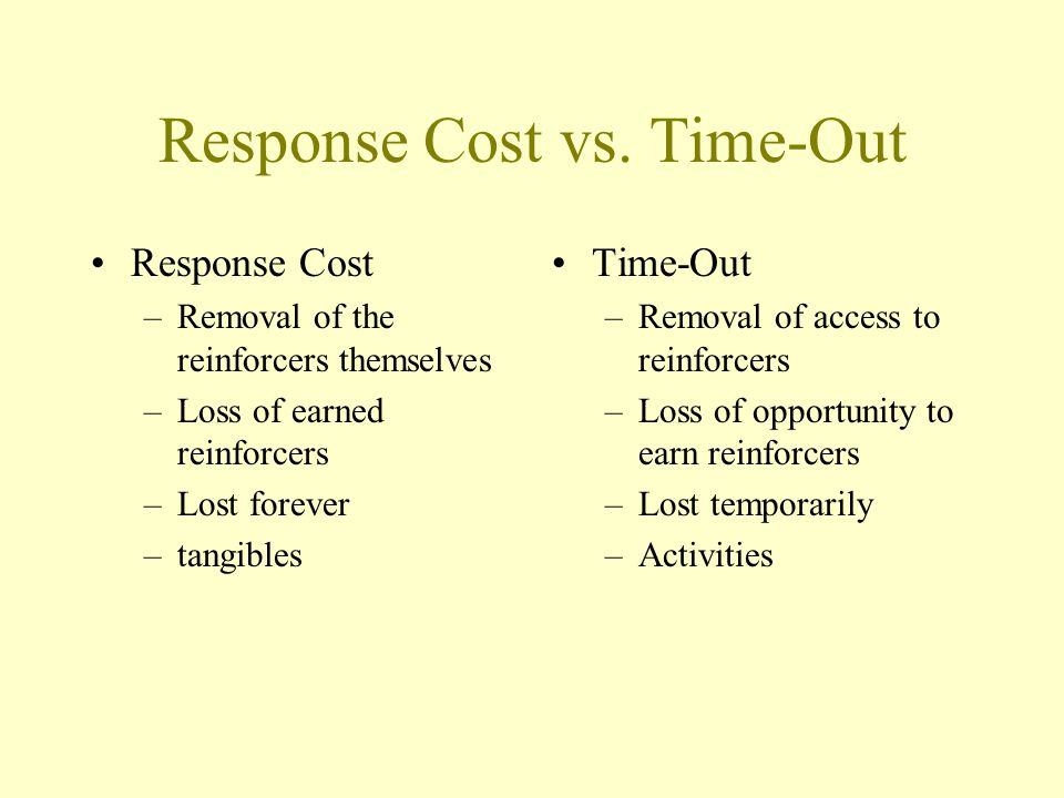 Response Cost vs. Time-Out