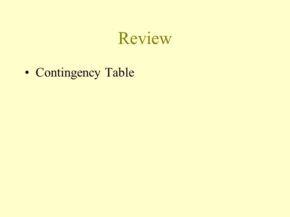 Review Contingency Table