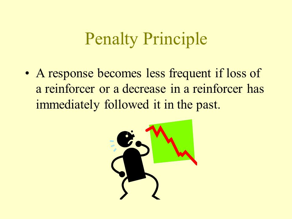 Penalty Principle A response becomes less frequent if loss of a reinforcer or a decrease in a reinforcer has immediately followed it in the past.
