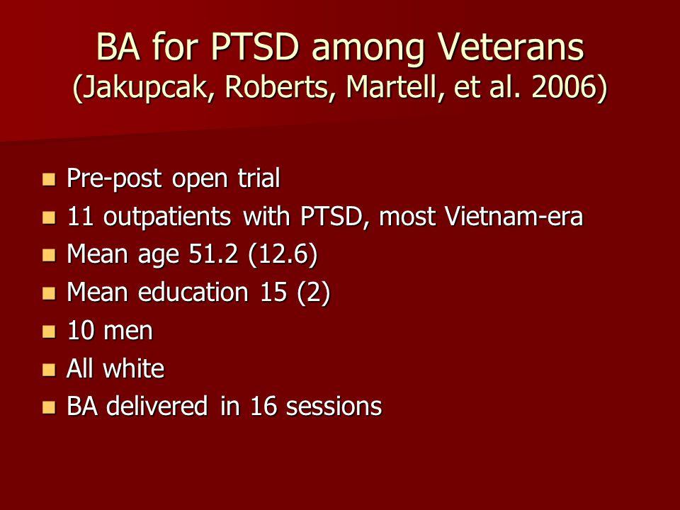 BA for PTSD among Veterans (Jakupcak, Roberts, Martell, et al. 2006)