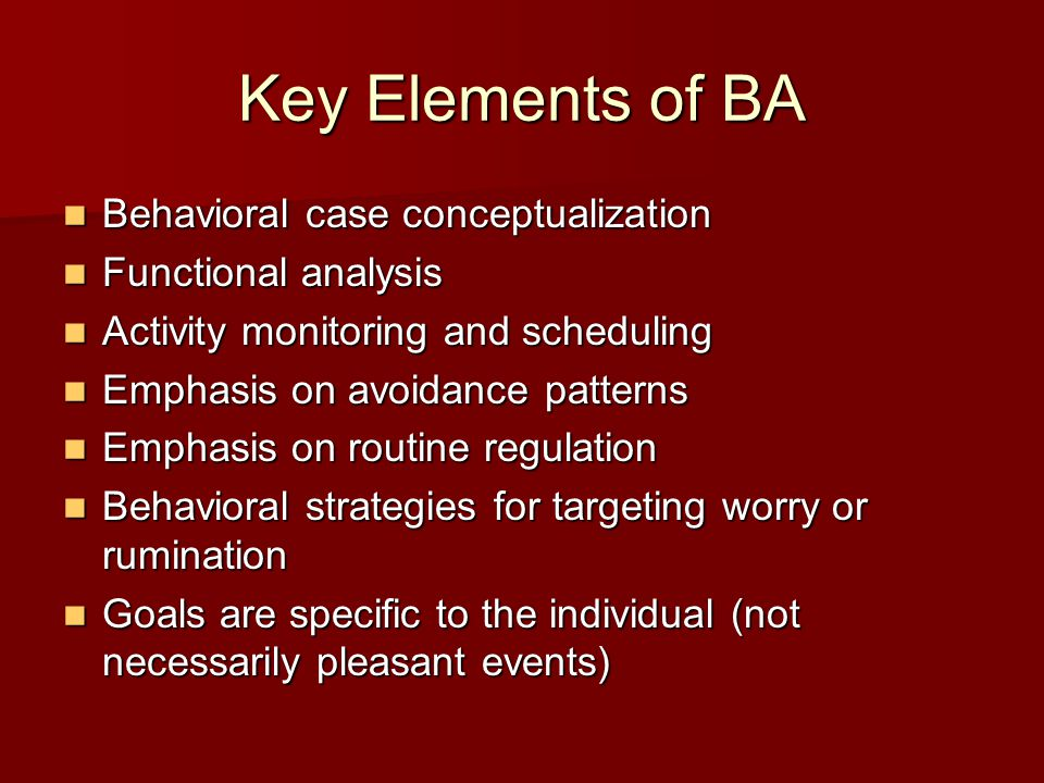 Key Elements of BA Behavioral case conceptualization