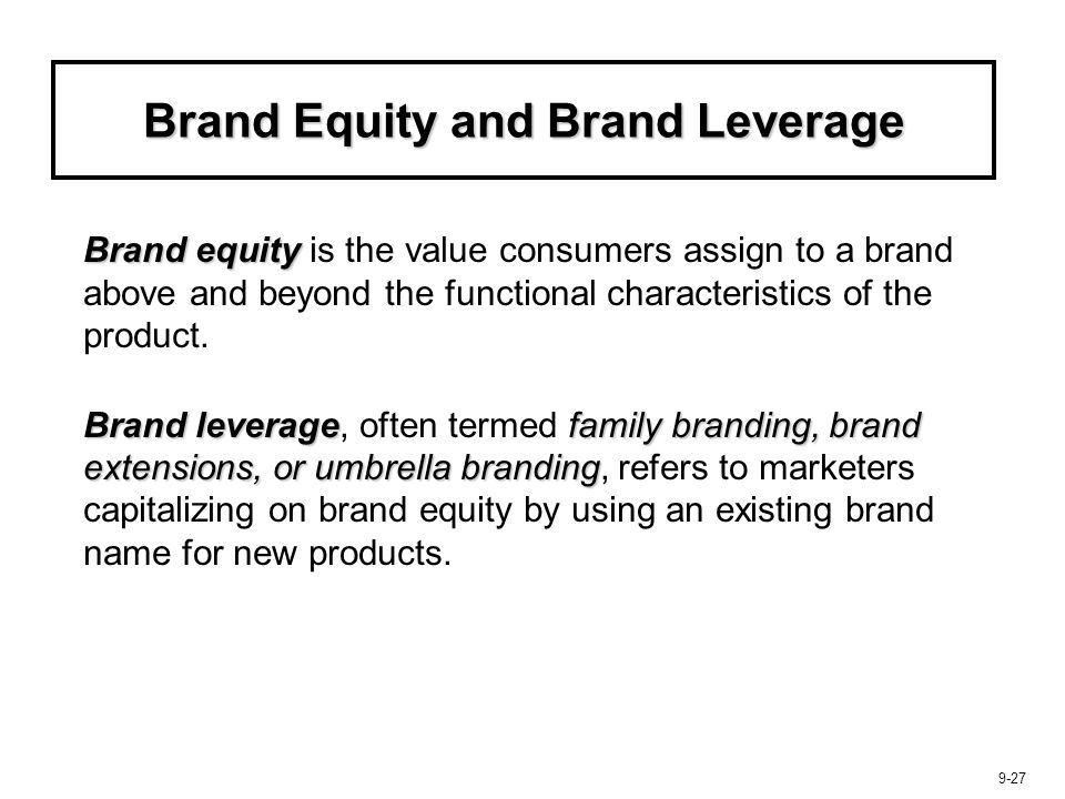 Brand Equity and Brand Leverage