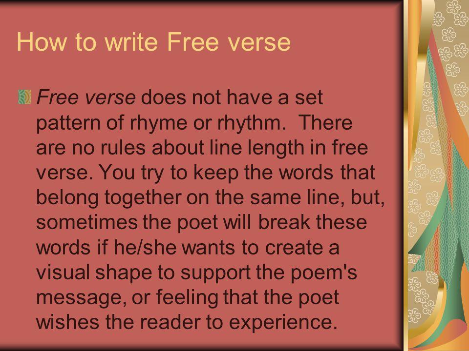 How to write Free verse
