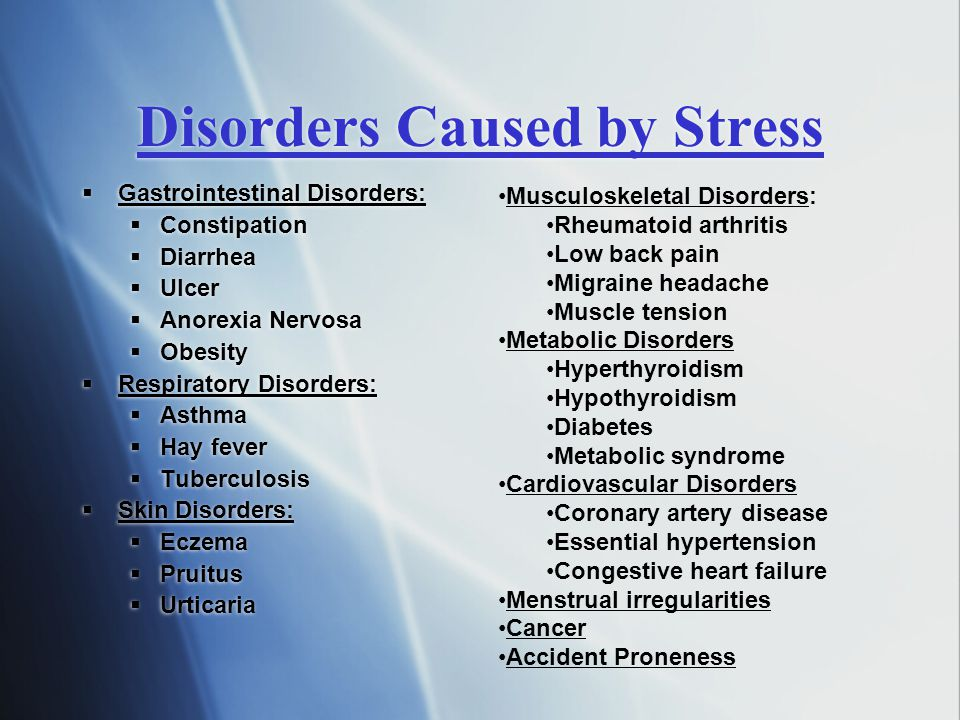 Disorders Caused by Stress